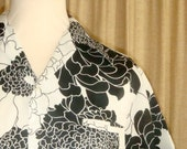 V I N T A G E  70s Men Aloha Black and White Chrysanthemum Flower Shirt Medium Large