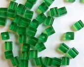 4mm Glass Cube Beads --Classic Green-- 50 Pieces