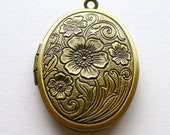 2 Romantic Engraved Look Floral Lockets Antique Bronze