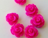 10 Rose Resin Flower Cabochons10mm HOT PINK