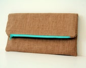 brown linen foldover clutch