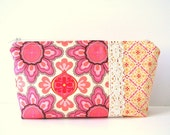 reserved for Susan -- zipper pouch - coral and pink with vintage lace
