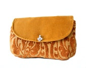 reserved for Ofira - harvest gold clutch with vintage brooch