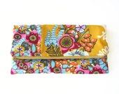 S A L E / foldover clutch in innocent crush / gold / floral / summer fashion / originally 24.00