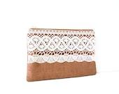 brown linen zipper pouch with cotton crochet trim / linen / spring fashion / bridesmaids