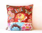 decorative throw pillow cover - floral print - reversible 18 x 18
