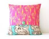 decorative throw pillow cover - opal owl - reversible 18 x 18 / pink / aqua / owls / dorm decor