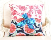 decorative throw pillow cover with bow ties - Amy Butler Lark - reversible