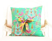crazy love - decorative throw pillow cover with bow ties - reversible