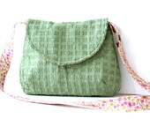shoulder bag in green upholstery fabric / green / floral / fall fashion / autumn
