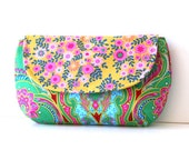 clutch purse in emerald green with mustard floral flap / summer fashion