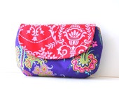 summer clutch purse in purple floral with red damask flap / summer fashion
