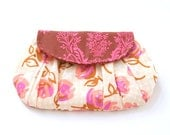 pleated summer clutch purse / summer fashion / pink and brown / floral / mothers day