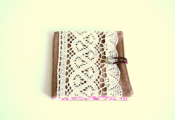 fabric wallet with vintage inspired cotton lace