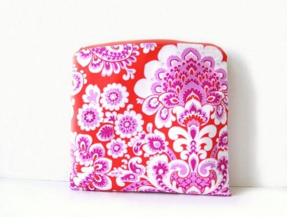 S A L E / orange flourish foldover clutch / summer fashion / pink and orange / originally 26.00
