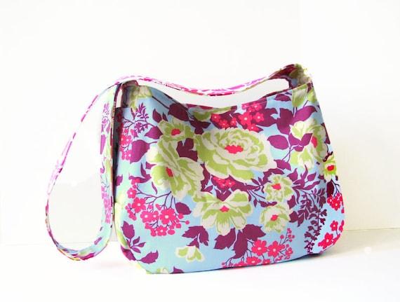 large bag / floral / designer fabric / pink blue /market bag / diaper bag / book bag / summer fashion / an everyday bag in rose bouquet