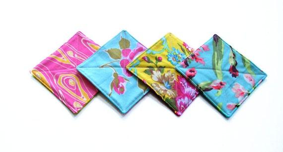 fabric coasters in a mix of designer fabrics - set of 4