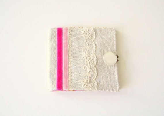 fabric wallet with vintage lace and velvet ribbon