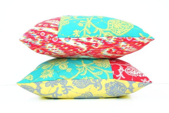 "decorative throw pillow cover / 18"" / red / yellow / teal / reversible / dorm decor"