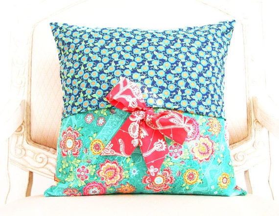 reserved for Melina -- decorative throw pillow cover - Amy Butler Lark - reversible