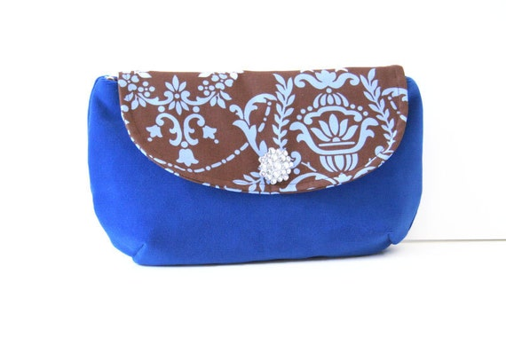 reserved listing for Johanna - clutch purse in blue and brown / fall fashion