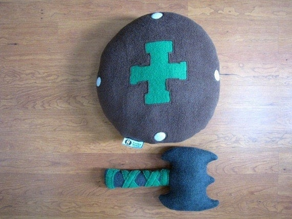 Plush Toy Buckler Shield and War Axe Set - Personalized - Custom