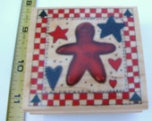 WOOD MOUNTED RUBBER STAMP   GINGERBREAD