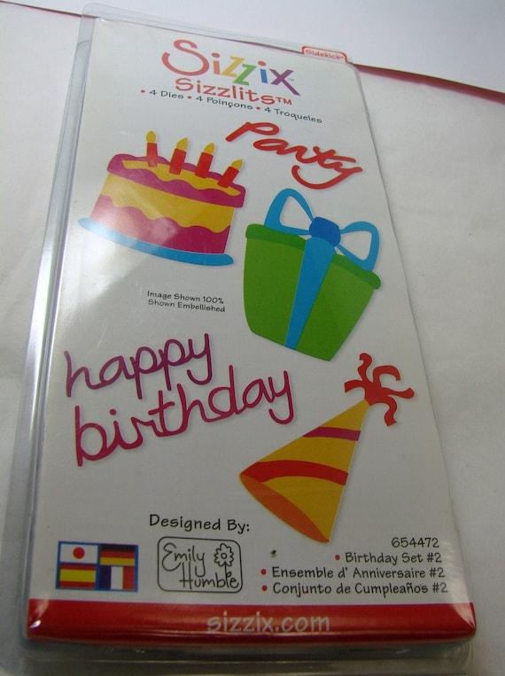 NEW ITEM SIZZIX Happy Birthday Brand New 4 Dies Birthday Cake Hat Presents