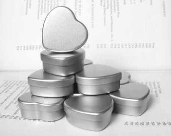 mini heart Tin, jewelry box, candle tin, lip balm tin, blank (set of 6) silver color