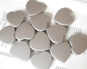 1 mini heart Tin, jewelry box, candle tin, lip balm tin, blank silver color