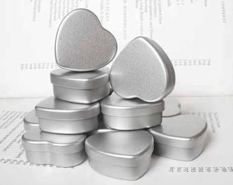 mini heart Tin, jewelry box, candle tin, lip balm tin, blank (set of 20) silver color