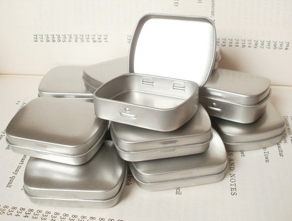 reserved for Natalie, mini metal hinged tin, blank (set of 105) in silver color
