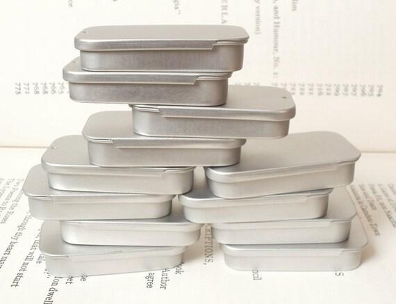 mini sliding lid tins, jewelry box, candle tin, lip balm tin, blank (set of 12) silver color, 20ml small storage