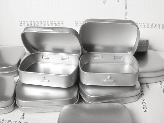 mini metal hinged tin, blank (set of 6) in silver color