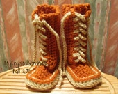 Buggs - Crochet  Lace Up Baby Booties in Spiced Pumpkin and Cream
