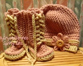 Buggs -  Soft Pink Crochet Baby Lace Up Booties and Matching Newsboy Hat w/ Wood Button Accent