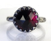 Princess Garnet Sterling Silver Ring