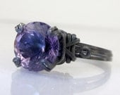 Dark Amethyst Sterling Silver Ring