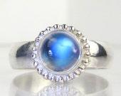 Blue Flash Rainbow Moonstone Ring Sterling Silver