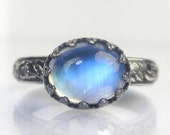Blue Flash Rainbow Moonstone Ring Sterling Silver