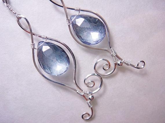 Violet Blue Mystic Quartz Sterling Silver Earrings