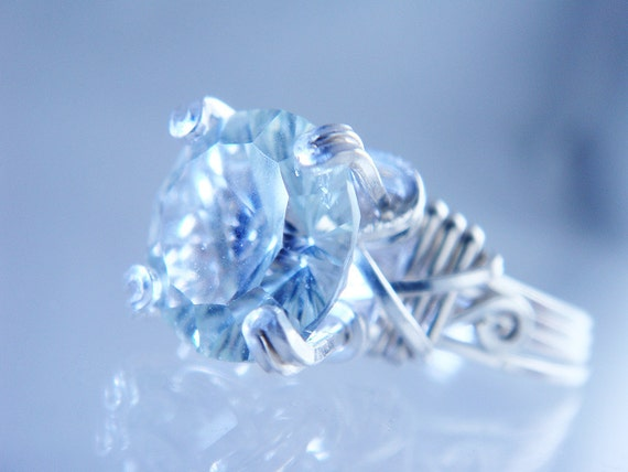 Concave Cut Green Amethyst Sterling Silver Prong Ring