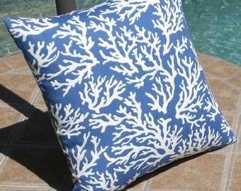 Outdoor Atlantic Blue Coral Patio Throw Pillow Cover - 16 inch