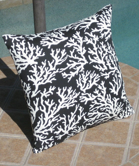 Dark Coral Throw Pillows : Outdoor Black Coral Patio Throw Pillow Cover by PillowPeels