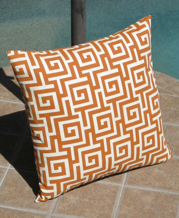 Outdoor Orange and Off White Oskar Throw Pillow Cover