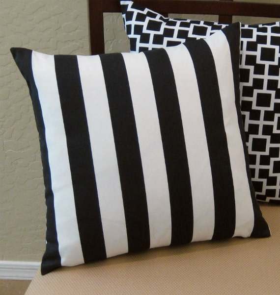 Black and White Striped Throw Pillow Cover