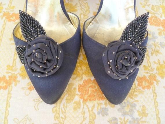 Andrea Pfister vintage black satin and beaded sling back heels
