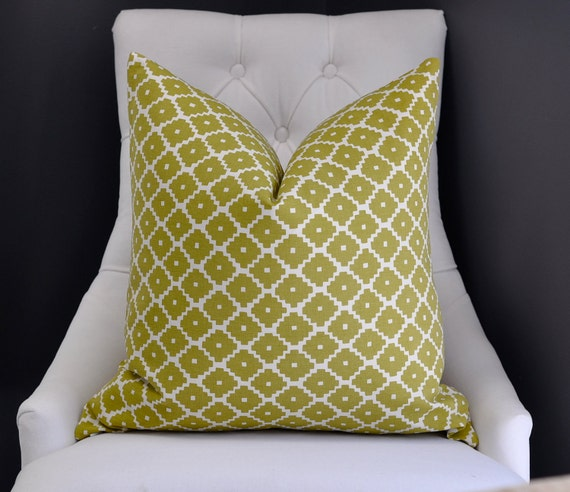 """20""""sq. Schumacher ZIGGURAT  pillow cover in Chartreuse -  pattern on BOTH sides"""