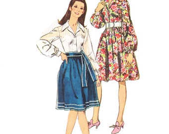70s Dress Sewing Pattern/ Vintage 1970s Simplicity Shirt Dress with Sash Sewing Pattern 9152