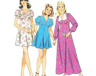 70s Girls Dress/ Vintage 1970s UNCUT Simplicity Girls Dress with Tear Drop Collar Sewing Pattern 6186/ Size 7